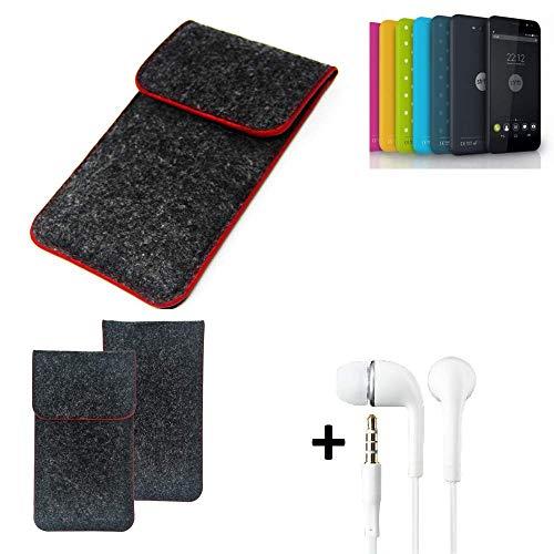 K-S-Trade® Handy Schutz Hülle Für Shift Shift4.2 Schutzhülle Handyhülle Filztasche Pouch Tasche Case Sleeve Filzhülle Dunkelgrau Roter Rand + Kopfhörer