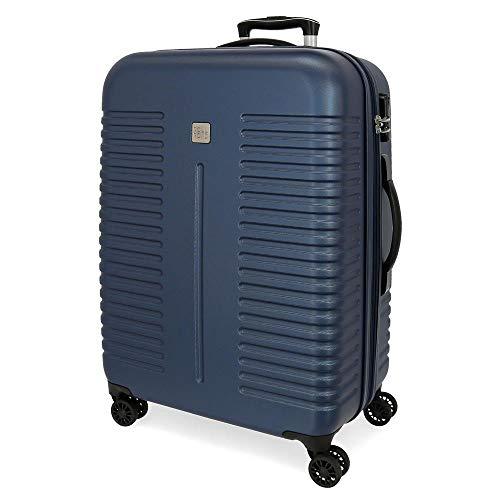 Roll Road India Navy blue Large Hardside Suitcase 80cm