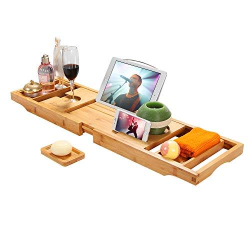 of bath caddies Simath Luxury Bathtub Caddy Tray - Bamboo Adjustable Bath Tray for Any Size Bath Tub, Free Soap Holder - Water Resistant
