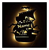 Pirate Ship Gifts for Boys Kids Adult Girls Men Women I Unique Home LED Room Night Light Personalized with Name