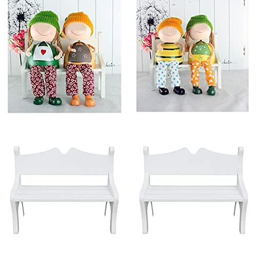 Jacksing Decoración de casa de muñecas, Banco en Miniatura Mini Banco de Madera Banco de muñecas no tóxico para Restaurante para Amigos para Familia para cafetería