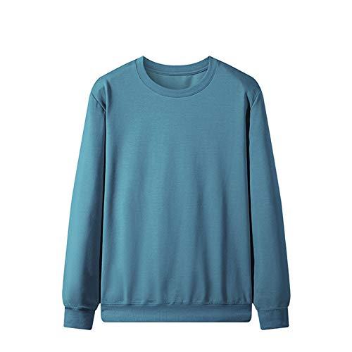 Suéter para hombre, para exteriores, cuello redondo, suéter de otoño, manga larga, azul, M
