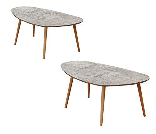 HTDZD Table Basse Ovale, Table Basse Salon créatif en Bois Simple Table de négociation Combinaison de numéro de Chambre (Couleur : B-86 * 50 * 40CM+104 * 60 * 45CM)