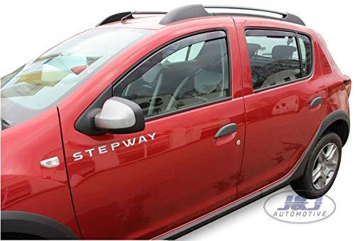 J&J AUTOMOTIVE | Deflecteurs d'air Déflecteurs de Vent Compatible avec Dacia SANDERO STEPWAY 2012-2020 4 Porte 4pcs