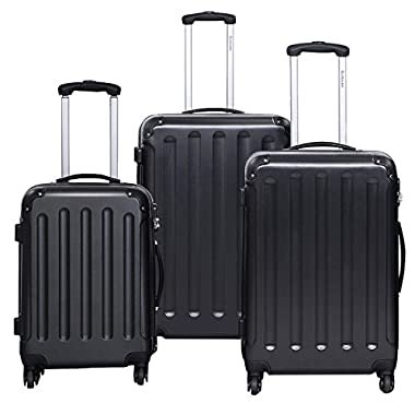 Goplus 3 Pcs Luggage Set Hardside Travel Rolling Suitcase ABS Globalway (Black)