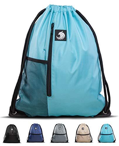 Fitgriff® Turnbeutel für Damen und Herren, Sportbeutel, Gymsack, Rucksackbeutel, Gym Bag Drawstring Backbag Bag (Light Blue mit Netzfach)