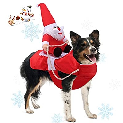 Runostrich Running Santa Dog Costume Christmas Pet Clothes, Dog Apparel Party Dressing up Clothing for Small Large Dogs Pet Funny Festival Holiday Outfit (Large)
