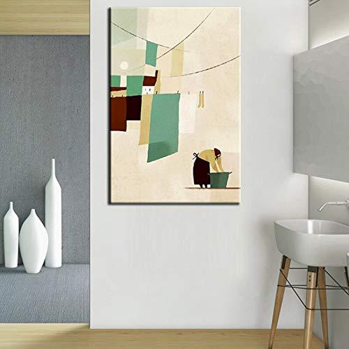 Nordic abstract modern canvas schilderij vrouw wasgoed kleding hand schilderen muurkunst afbeelding voor woonkamer wooncultuur frameloos