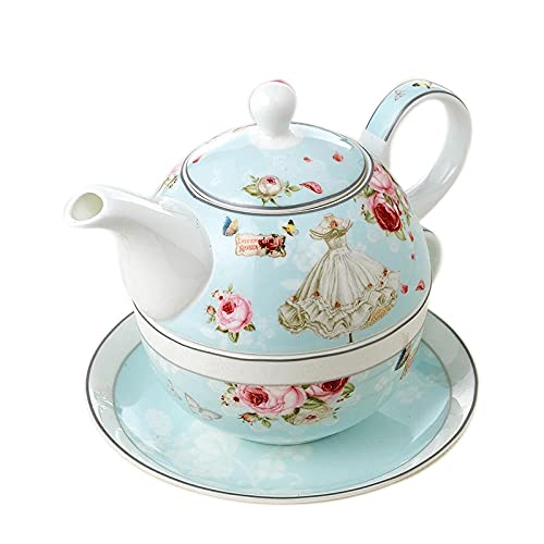 HRHQ Hueso China Madre y bebé Tetera Tetera Té Single Filter Hogar Cerámica Coffee Tetera TeaCup Set Gift Love-Madre romántica (una olla de una taza de plato)