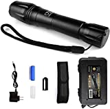 Gold Armour LED Tactical Flashlight, High Lumen Light with Rechargeable Battery & Holster, 5 Modes, Zoomable, and Water Resistant Handheld for Camping Hurricane Emergency (6.5 Inches Tall)