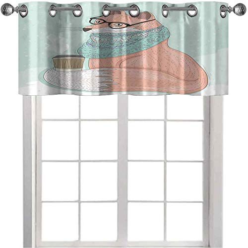 Cenefa de cortina con filtro de luz, diseño de zorro hipster con gafas y bufanda para beber café hippie, 91,4 cm de ancho x 45,7 cm de largo para ventana para sala de estar, coral menta