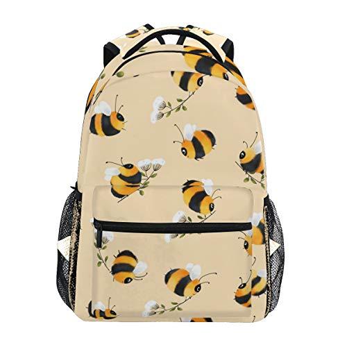 Mochilas escuela escuela libro bolsa viaje senderismo camping mochila | 40,6 x 30,4 x 15,2 cm | Capacidad para portátil de 15,4 pulgadas (abejos)