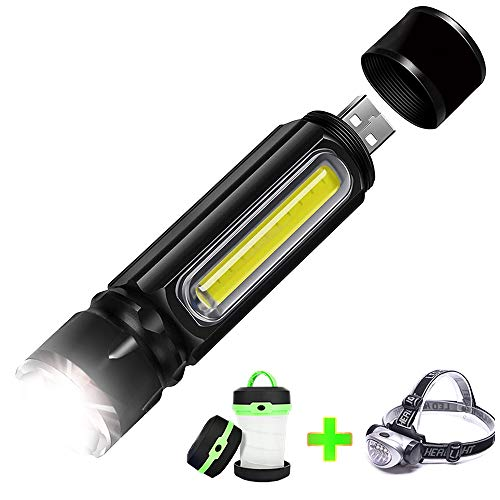 Odistar USB Rechargeable Tactical Flashlight Built-in COB Side Light and Magnet(18650 Battery Included).Get free camping lights and head lamp
