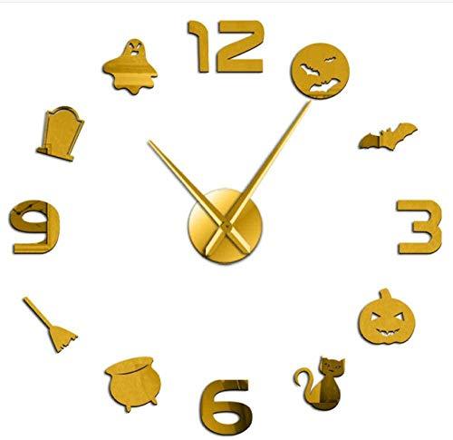 YAZCC Fledermaus Kürbis DIY Wanduhr Acrylspiegel Halloween Dress Up Home Decoration Uhr (Gold)
