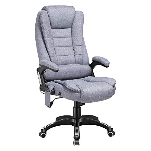 Kealive Ergonomic Massage Office Chair with Linen Fabric, High Back Executive Heated Vibrating Chair with Lumbar Support Armrest, Adjustable Tilt Angle Reclining Swivel Computer Chair, Grey