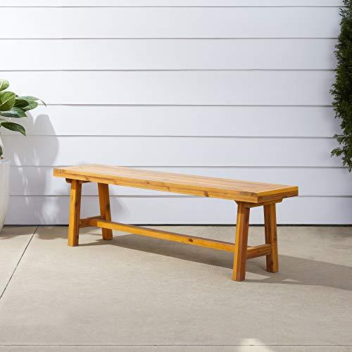 Vifah Miami Acacia Wood Picnic Backless Bench for 3 Seater in Entry Way, Porch, Garden, Balcony, Bathroom, Spa, Outdoor Seating, 550 lbs Capacity, 5Ft, Honey