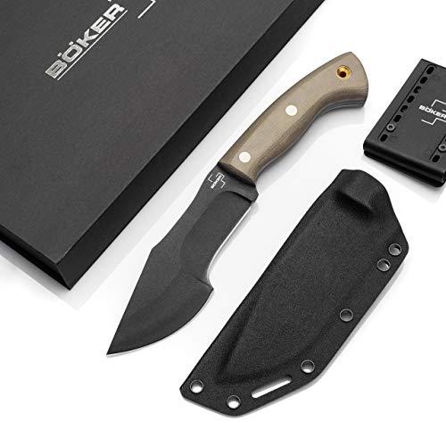 BÖKER PLUS® Mini Tracker - kleines Bushcraft-Messer mit Kydexscheide - feststehendes Outdoormesser - schwarze Klinge aus Carbonstahl in Geschenk-Box