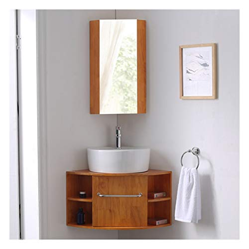 LCF badkamer wastafel combo, moderne houten kast wastafel wastafel set met spiegel, chroom kraan, keramische wastafel