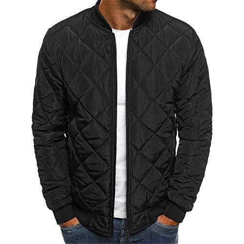 Mens Bomber Jacket Varsity Diamond Quilted Lightweight Windbreaker Softshell Flight Jackets Fall Winter Coats Outwear (Black,Small)