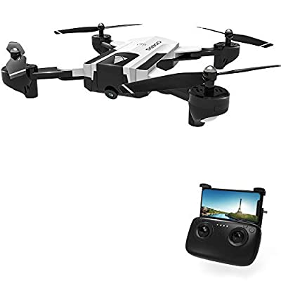 DeeXop Rc Drone, SG900 Optical Flowing Foldable FPV Drone FPV WiFi Rc Quadcopter with Double HD 720P Camera 4CH 6-Axis Gyro Image Allow Gesture Photo/Video Selfie Drone-White
