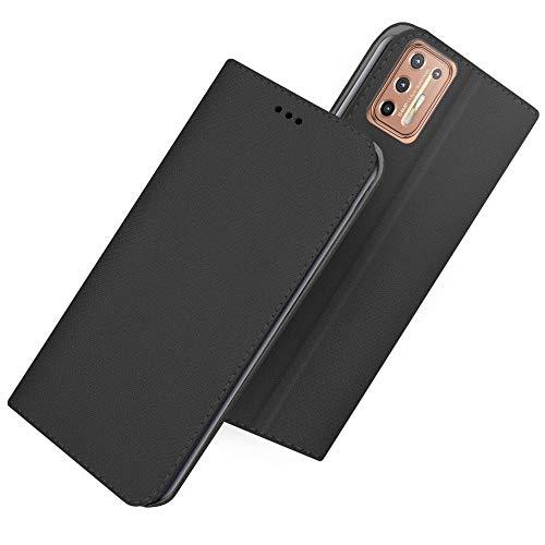Compatible con MOTOROLA Moto G9 Plus (pantalla 6.8) Funda cover stand libro flip magnético gel TPU protección cartera tarjetero (negro)