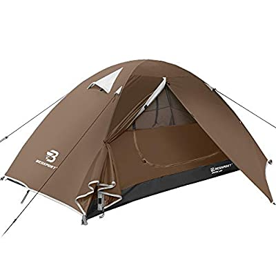 Bessport Camping Tent for 2 Person, Lightweight Backpacking Tent with Two Doors Easy Setup Waterproof Tent for Outdoor, Hiking Mountaineering Travel(Brown)