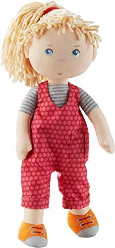 HABA 305408 - Puppe Cassie, Stoffpuppe aus weichen, waschbaren Materialien mit Latzhose und Zopfgummi, 30 cm, Puppe für Kinder ab 18 Monaten
