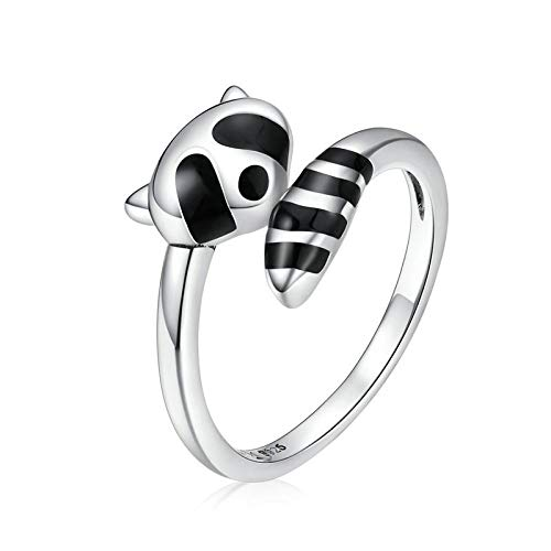 BNFG Ringe Offener Damen,Mode Damen Verstellbare Offene Ringe Schwarz Niedlich Emaille Waschbär Tier Design Silber Elegant Ring Verlobung Ewigkeit Weihnachten Schmuck Geschenk Für Frauen Mädchen