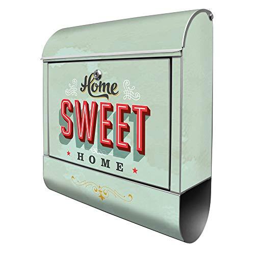 Banjado Design Briefkasten mit Motiv Home Sweet Home | Stahl pulverbeschichtet mit Zeitungsrolle | Größe 39x47x14cm, 2 Schlüssel, A4 Einwurf, inkl. Montagematerial