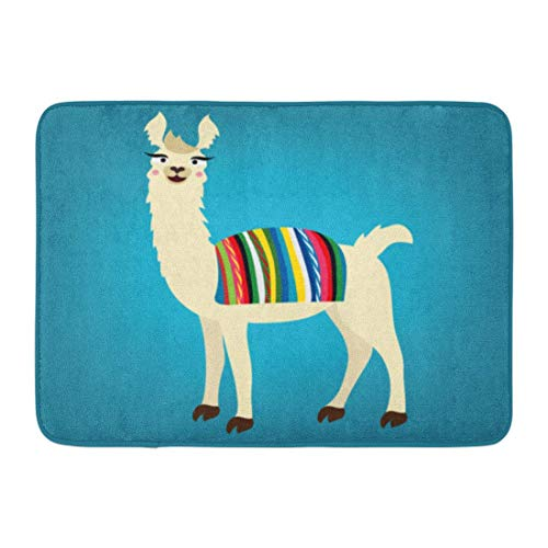 N/A Door Mat,Bathroom Rug,Entry Carpet,Doormats,Colorful Lama Of Cute Llama Peru Bolivian Cape On Back Blue Alpaca Animal Welcome Doormat Floor Mat For Kitchen Bathroom Home Decor,60X40Cm