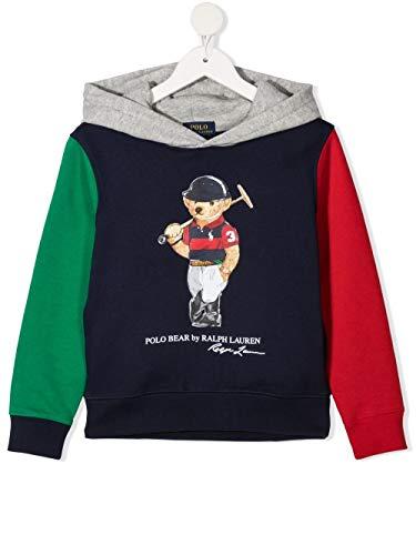 Polo Ralph Lauren - Felpa blu Multi con cappuccio Orso 323836597001 - Felpa con cappuccio blu Multi bambino multicolore S (8 anni)