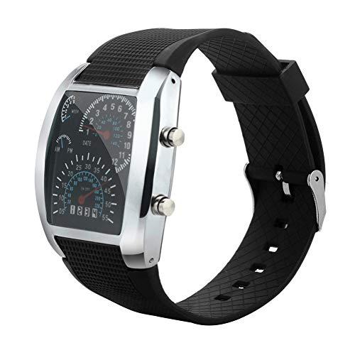 TIANJJ Reloj de Pulsera Reloj de medidor de marcación de Coche Deportivo con velocímetro de Flash de luz de Moda para Hombre