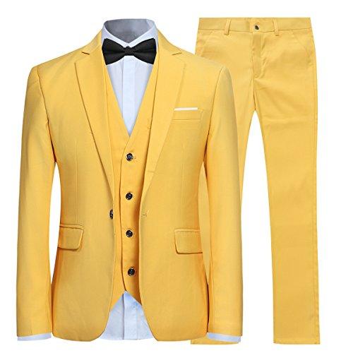 Anzug Herren Slim Fit 3 Teilig Anzüge Modern Herrenanzug 3-Teilig Sakko Hose Weste für Business Hochzeit Gelb X-Large