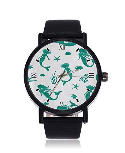 Watercolor Reloj de Pulsera para Mujer con diseño de Sirena y Algas...