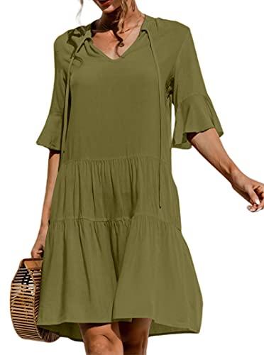 datasy Mujer Vestido Floral Verano Vestido Playa Fiesta Vestido Casual Sueltas Magas Cortas Cuello en V Verano Vestido de Oscilación de Noche Playa Vacaciones
