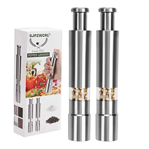 Sjpzwcrl Pepper Grinder, Stainless Steel Pepper Mill Durable Salt Grinder One Hand Operation Salt Pepper Mill 2 Pack (Pepper Grinder 2 Pack)