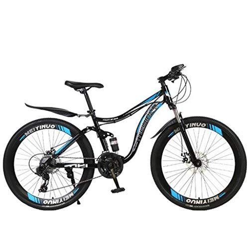 CHERRIESU Mountainbike 27 Geschwindigkeiten Anti-Rutsch Bike 26 Zoll Reifen Sand Fahrrad Doppelscheibe Bremse Federung Gabel Suspension Fahrrad Für Jungen Mädchen Männer und Frauen,E