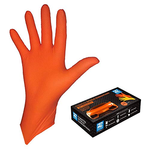 GUANTES de NITRILO DIAMANTADO naranjas - Los guantes de nitrilo M�S RESISTENTES del mercado - SIN L�TEX - REUTILIZABLES (L)