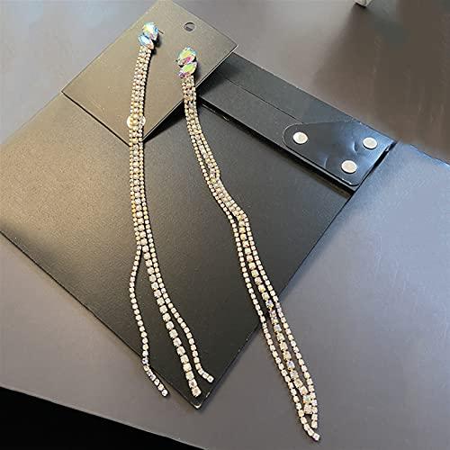 QWEQWE Pendientes de Mujer de Tendencia Pendientes Colgantes de Cadena Larga Pendientes de Diamantes de imitación Brillantes Accesorios (Metal Color : Eh13327js)