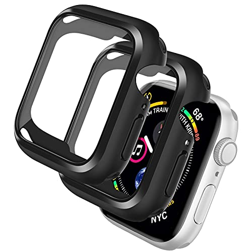 laxikoo 2 Pezzi Custodia Cover per Apple Watch Series 6/SE/5/4 40mm con Vetro Temperato, Copertura Completa TPU Custodia AntiGraffio Ultra Sottile HD Pellicola Protettiva per Apple Watch 40mm - Nero