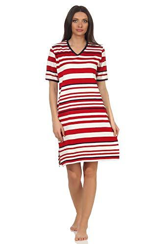 Damen Frottee Strandkleid Nachthemd Kurzarm in maritimer Streifen Optik - 102 214 93 920, Farbe:rot, Größe2:48/50