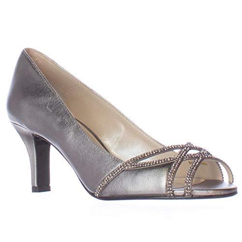 Caparros Womens Eliza Leather Peep Toe Classic Pumps, Pewter Metallic, Size 5.0