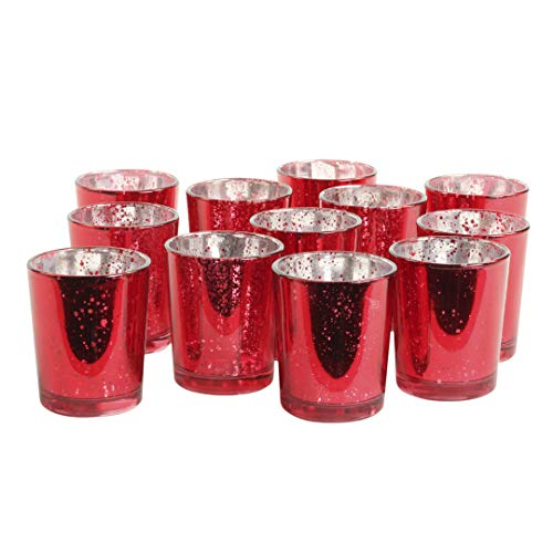 Koyal Wholesale 12-Pack Antique Votive Cups, Mercury Glass Candle Holders, Wedding Votive Candle Holders (Red)