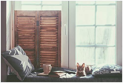 Wallario Glasbild Süße Baby Katze am Fenster - 60 x 90 cm in Premium-Qualität: Brillante Farben, freischwebende Optik