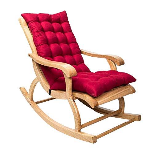 Rocking Chair Cushions, Sun Lounger Cushion Pads, Lounge Chair Cushions Thicken Lengthen Folding Wicker Chair pads Patio Furniture Overstuffed Bench Cushion 120*50cm (1PCS-Wine)