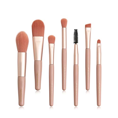 Asamio Lot de 7 pinceaux de maquillage professionnels avec manche en bois