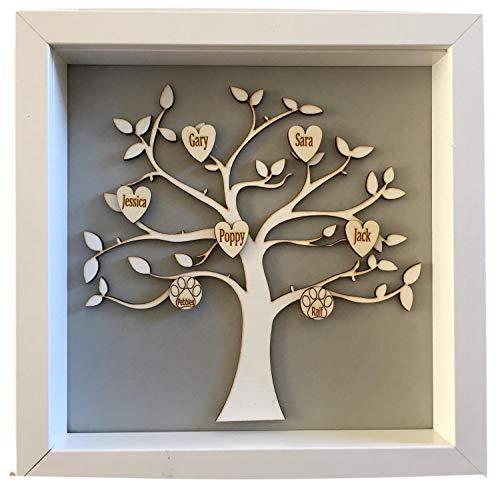 Árbol de la vida familiar con marco, personalizado con hasta 10nombres