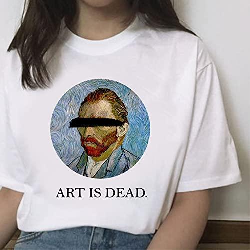 Momyeah Manga Corta Camiseta de Verano para Mujer-Cielo Estrellado Girasol Girasol Harajuku Camiseta-Van Gogh Arte Pintura al óleo Impresión Camiseta de Manga Corta, 006864, L
