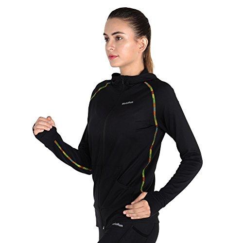 MOTORUN Giacca da Running Donna Riflettente Giacca sportiva da Running Donna Abbigliamento (004 Nero, S)