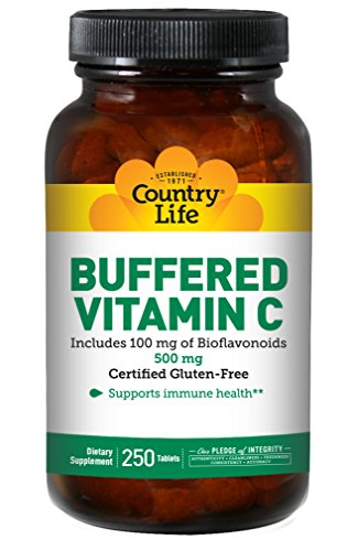 Country Life Buffered Vitamin C 500mg with Bioflavonoids & Rose Hip - Clean Antioxidant Protection & Immune System Health Support - Non-GMO, Gluten-Free, Vegan - 250 Tablets
